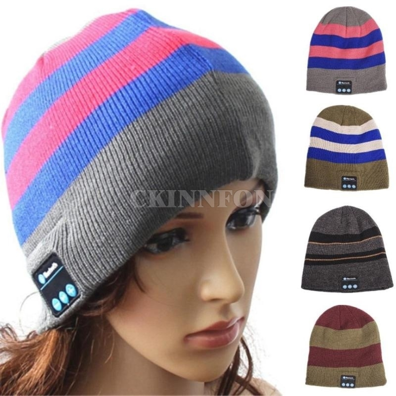 DHL 100pcs/lot Wireless Bluetooth Hat Earphone Fashion Warm Beanies Bluetooth Headphone Headset Music Hat Unisex Knitted Cap