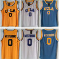 Venda Crenshaw UCLA #0 Russell Westbrook Azul Branco Road Home Mens Reminiscência Basketball Jerseys Costurado Logos Bordados S-XXXL