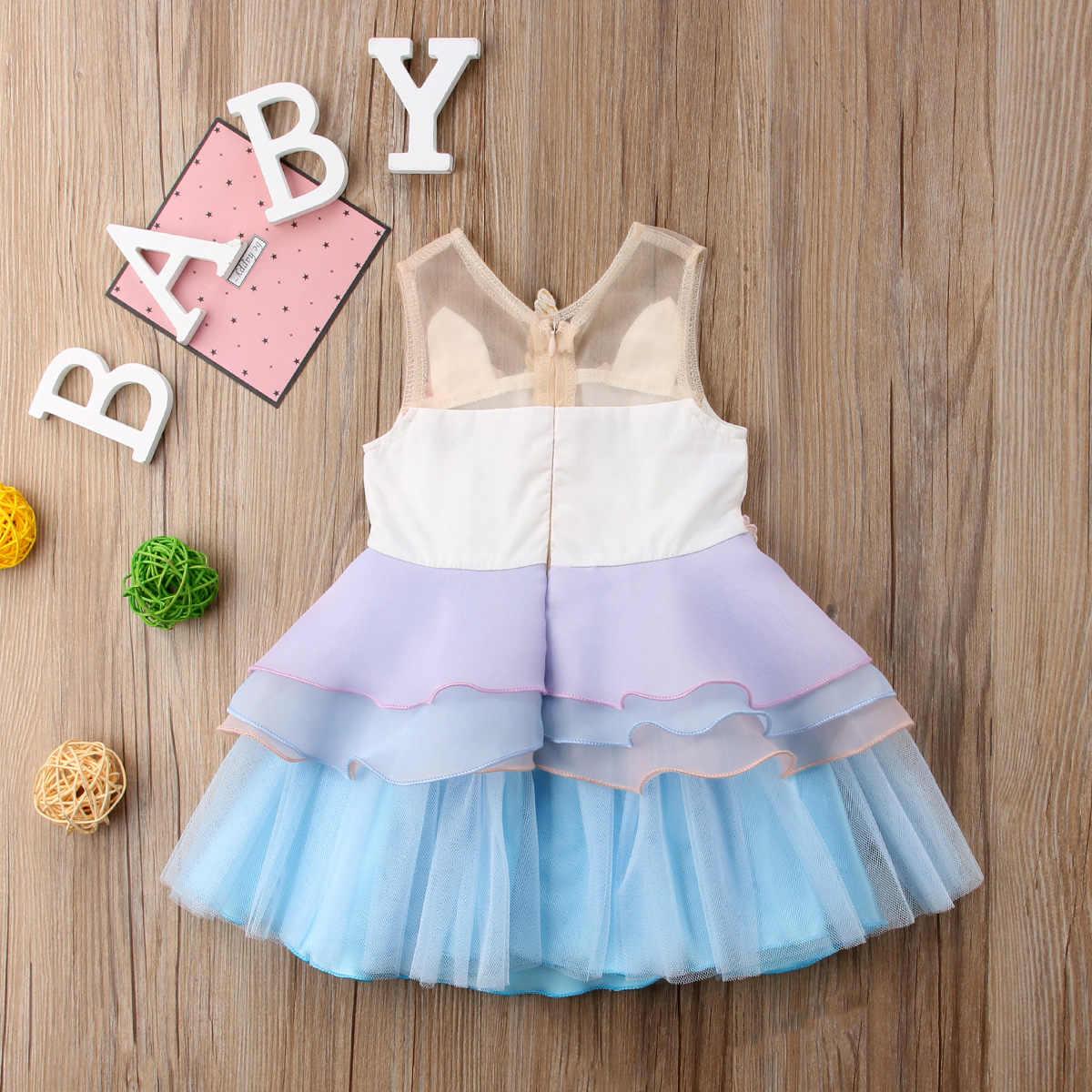 2019 симпатичный комплект для новорожденной девочки, Одежда для детей; малышей; девочек без рукавов Единорог Вышивка Вечерние Праздничное платье 3D Открытое платье без рукавов с рюшами; летняя модная одежда