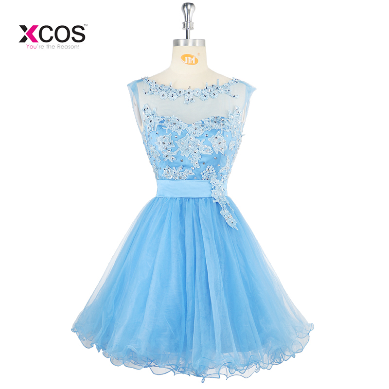 Knee length Short Evening   Dress   Sleeveless Blue A Line Party Gown Girls Homecoming Graduation Formal   Prom     Dresses
