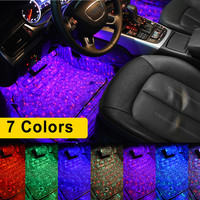 Car Interior Foot Light USB LED Atmosphere Ambient Starry DJ Mixed Colorful Music Sound Voice Control Laser Lamp