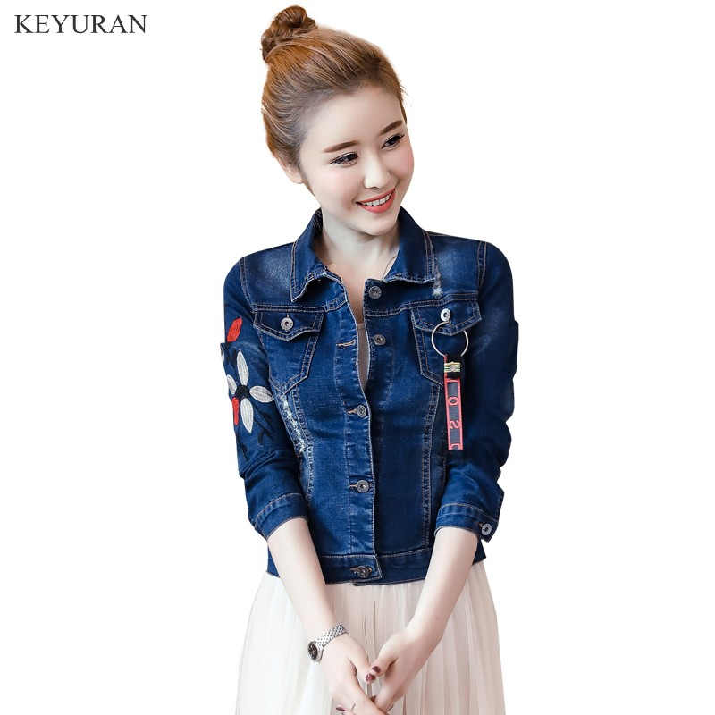 Flower Embroidery Denim   Jacket   Women 2019 Spring New   Basic     Jackets   Hole Flower Jean Short Coat Vintage Outerwear Plus Size L1719