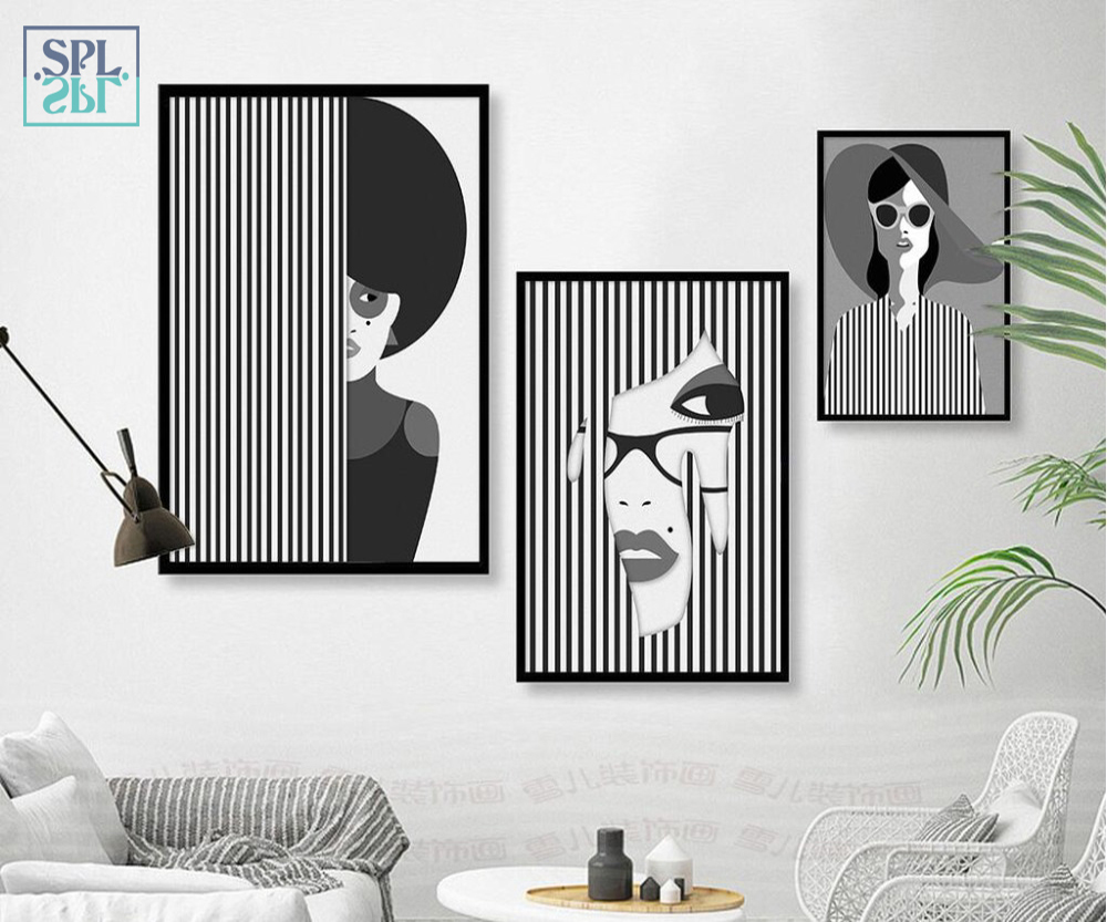 SPLSPL Black And White Girl Portrait Canvas Print Poster Fashion Wall Art Picture Home Decoration For Living Room No Frame