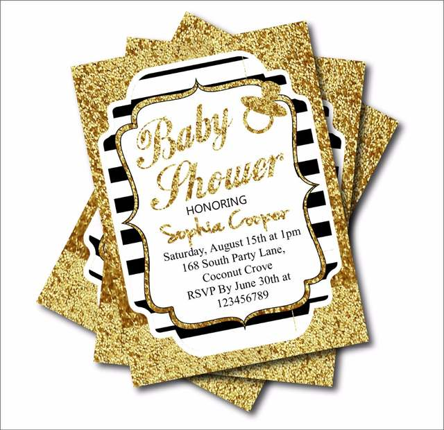 20 Pcs Gold Glitter Black Stripe Custom Birthday Party Invites Baby Shower Invitations Decoration Wedding