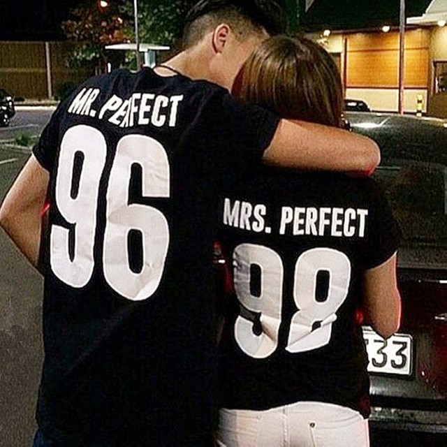 BKLD Valentine Shirts Woman Cotton Mrs Mr Perfect Letter Print