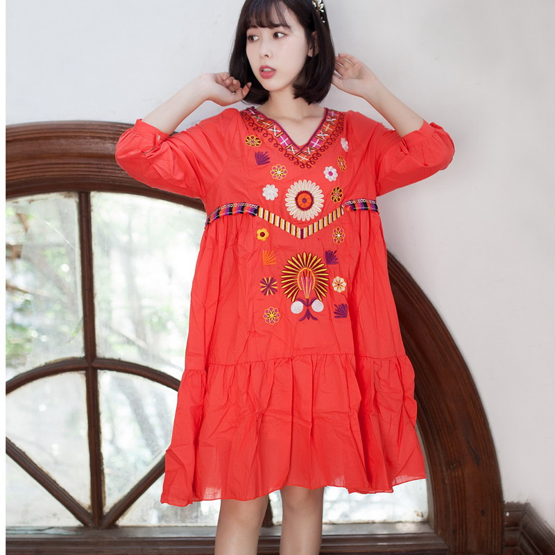 High Quality Runway 2017 Summer Women Vintage Boho Mexican People Luxury  Embroidered Loose Dress Vestido Party Dresses Plus Size-in Dresses from  Women s ... f6f4879e2c68