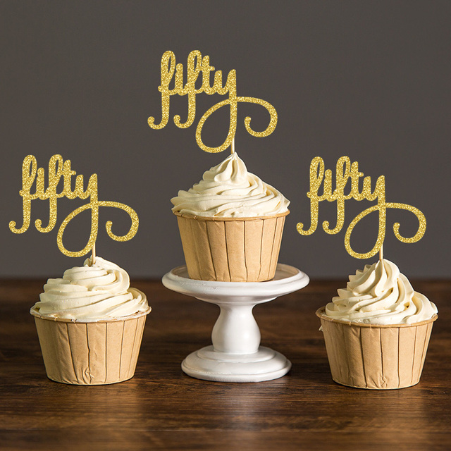 Gold/Silver/Black Glitter Script Fifty Cupcake Toppers ...
