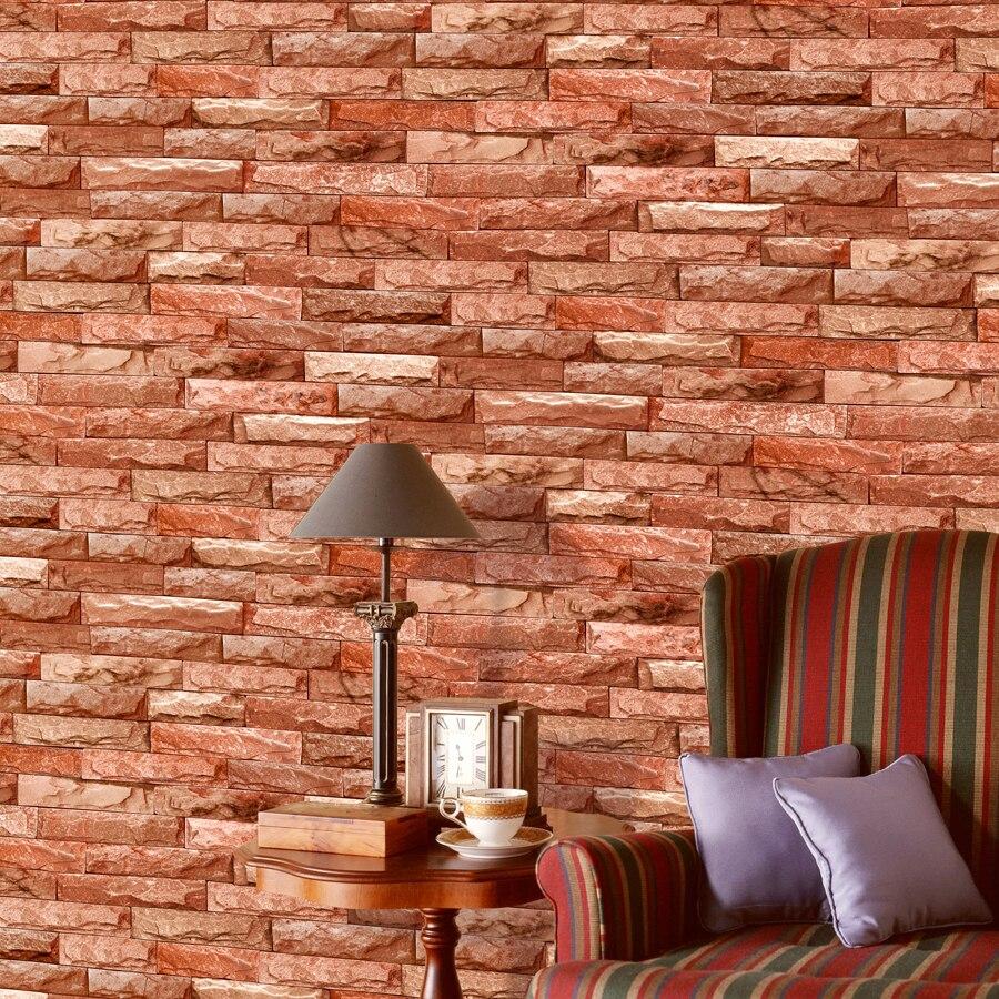 Classique chinois rétro 3D brique papier peint salon canapé TV fond papier peint brique pierre stéréo 3D papier peint pour murs