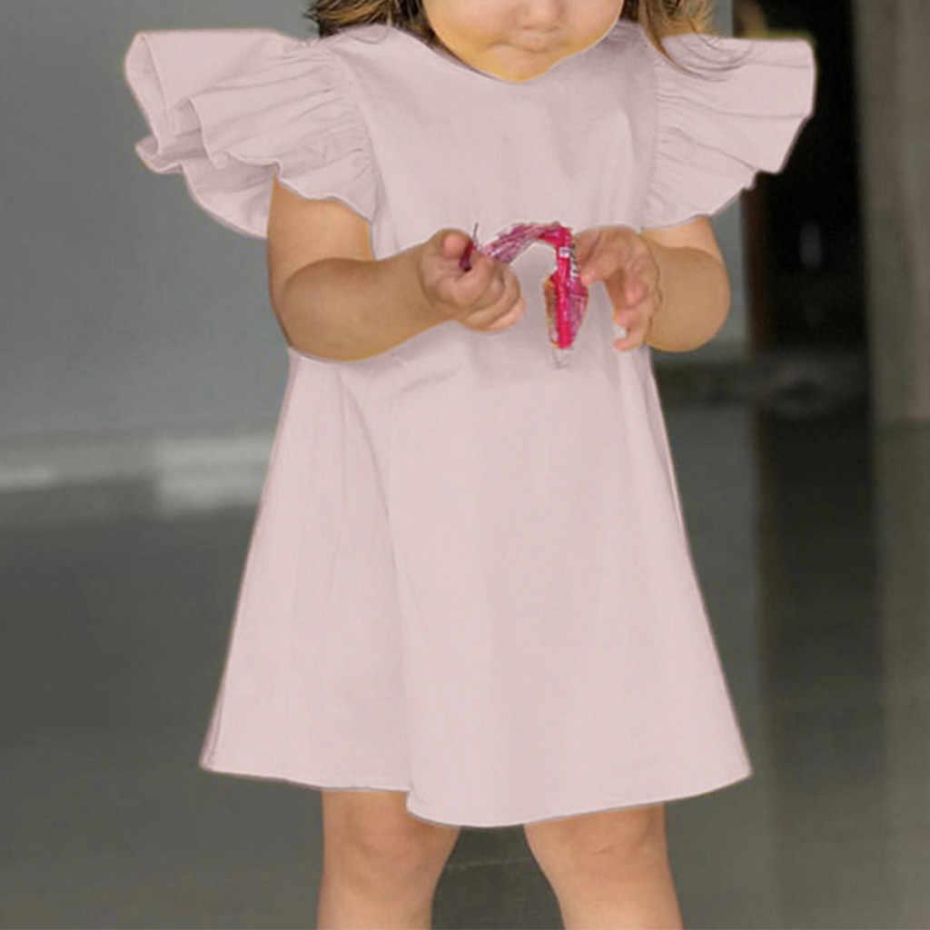 2019 קיץ תינוק ילדי תינוק בנות שמלות בגדי לטוס שרוול מוצק קשת שמלת בגדי שמלות נסיכת שמלת ילדה תלבושות