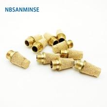 10Pcs/lot SET 1 Air Size Series Muffler Filter Pneumatic Silencer Brass Fitting Exhaust Sanmin