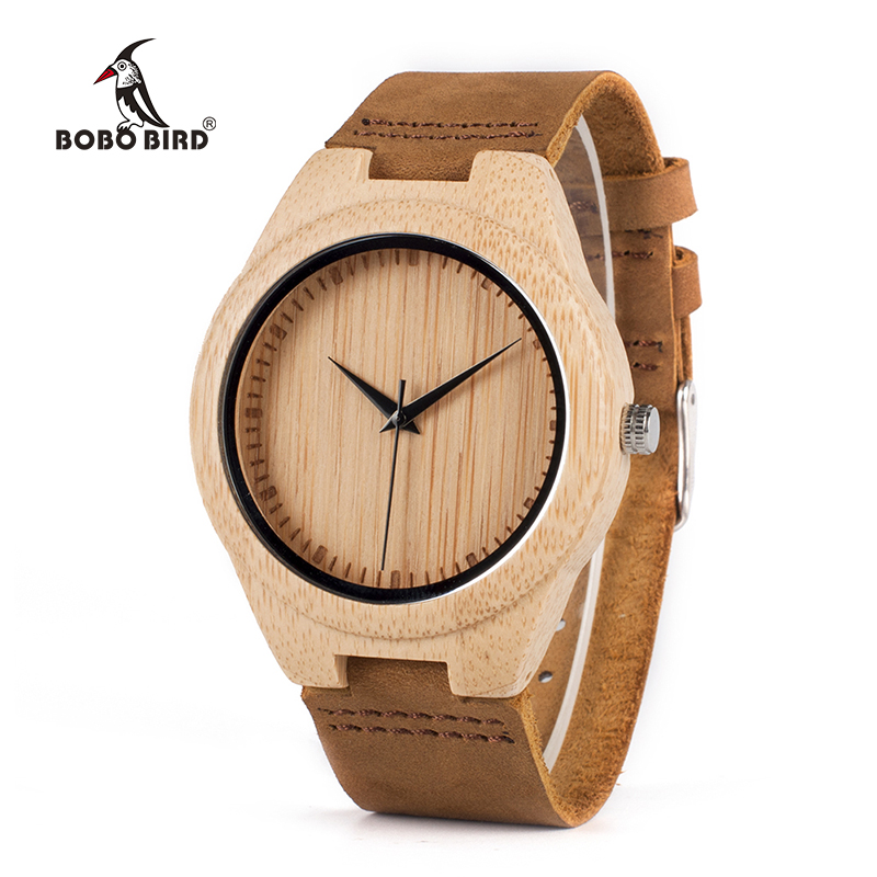 BOBO BIRD WF18 Miyota Movement Orologi da polso in pelle morbida Classic Bamboo Wooden Watches per uomo Donna legno contenitore di regali