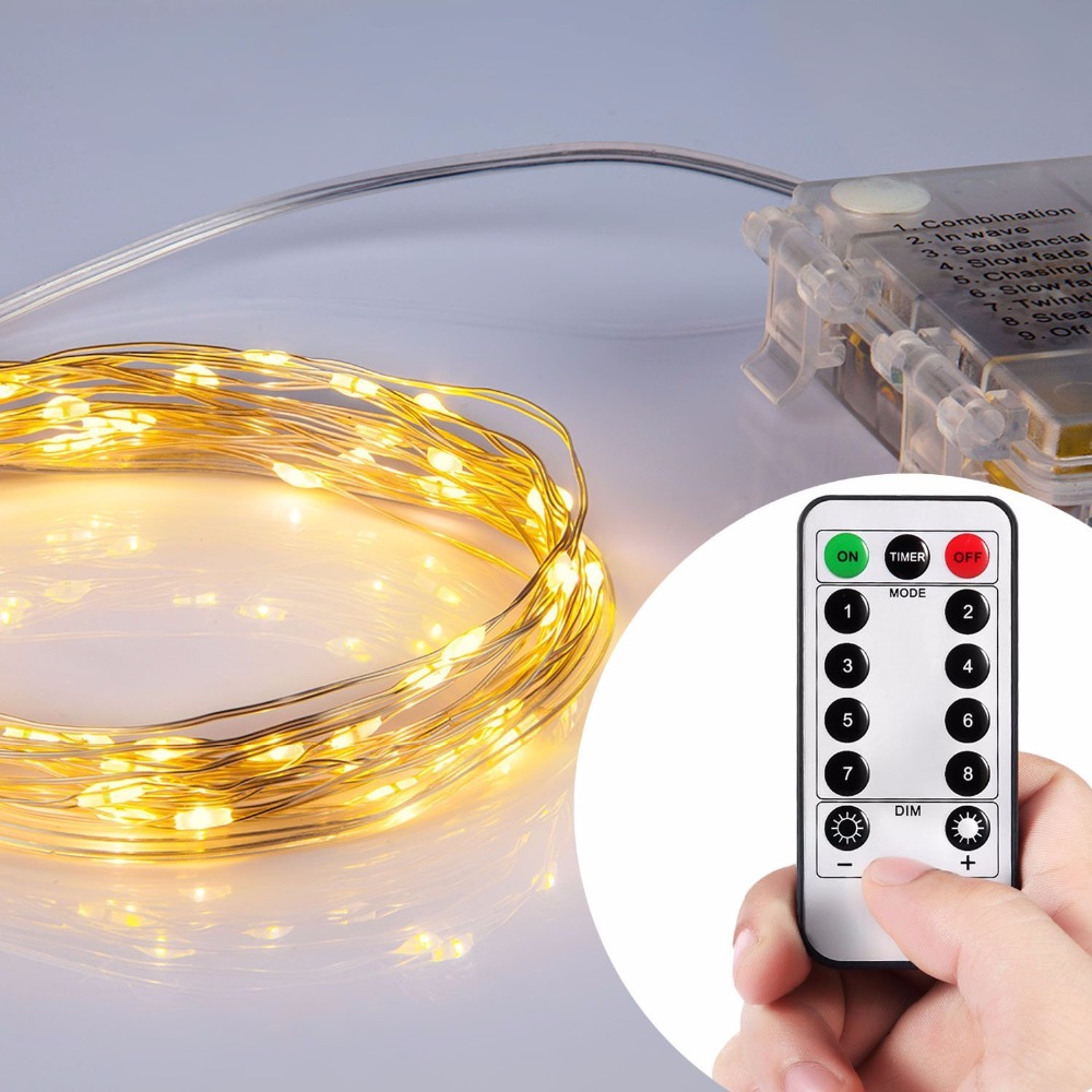MAGICNIGHT LED Battery Power Fairy Lights Silver Twinkling Starry String Light Waterproof Flexible 20FT 60LEDs