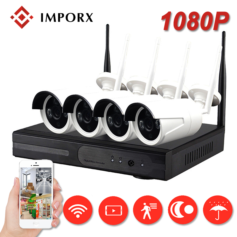 IMPORX 4CH Wireless CCTV System 1080P Outdoor CCTV Camera Security System NVR Kit Weatherproof 2MP Video Surveillance System Set