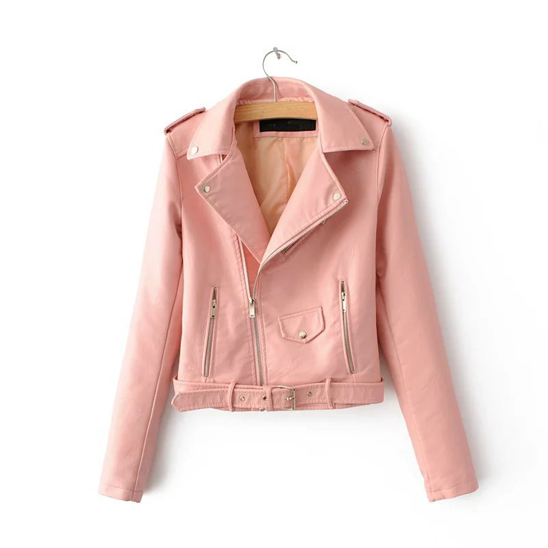 Spring Women Faux   Leather   Coat Pink Sweet Motorcycle Jacket Girls Short Flight PU Moto Jackets Long Sleeve Outerwear Ladies Tops