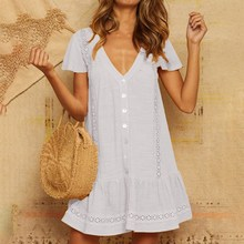 2019 Summer Women Lace Dress Patchwork Hollow Button Pleated Bohemian Casual Short Sleeve Mini