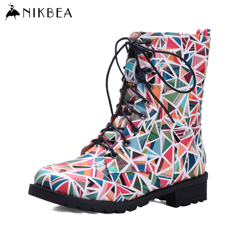 Nikbea Punk Martins Boots Women High Ankle Riding Boots Large Size  Lace Up Botines Mujer 2016 Autumn Winter Motorcycle Botas botines mujer 2016 autumn spring women boots lace up print motorcycle ankle boot ladies flat shoes woman botas mujer xwx3362