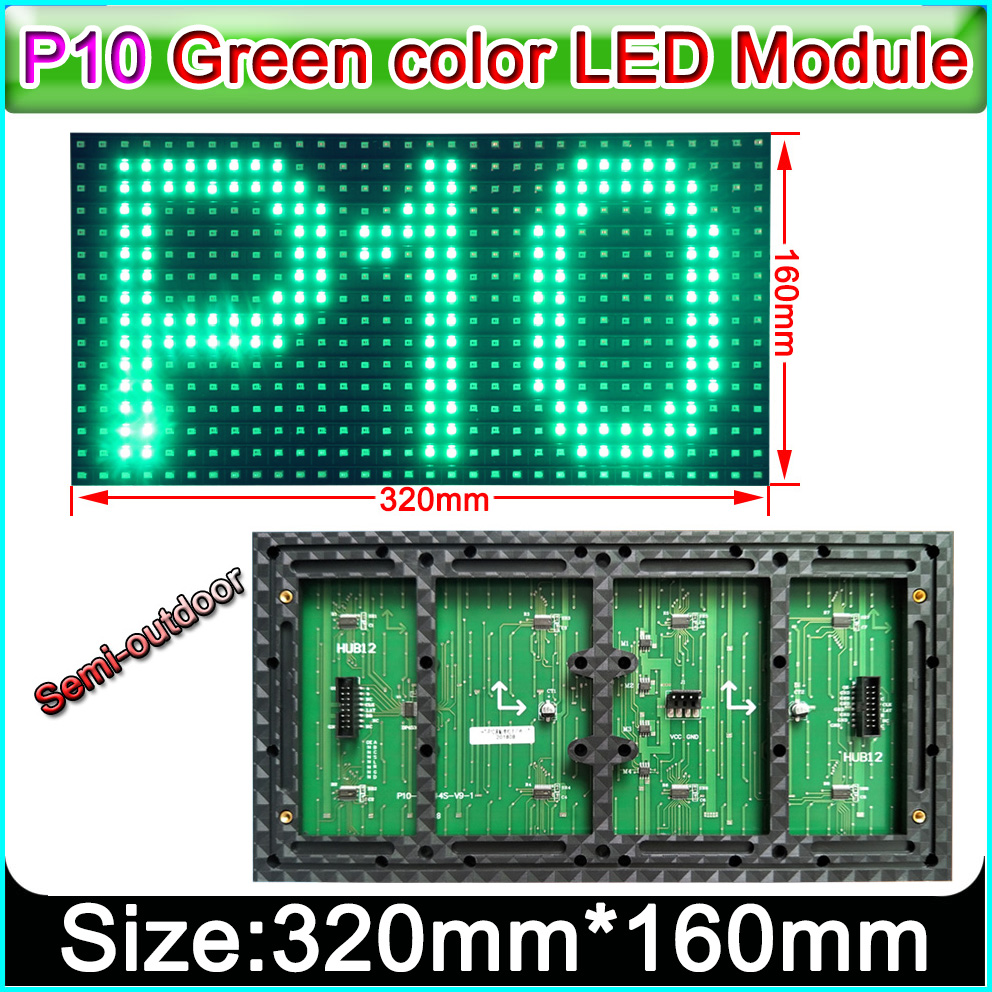 320 x 160mm Semi-outdoor green color <font><b>P10</b></font> <font><b>LED</b></font> display panel,Single color indoor <font><b>SMD</b></font> <font><b>P10</b></font> <font><b>LED</b></font> display module image
