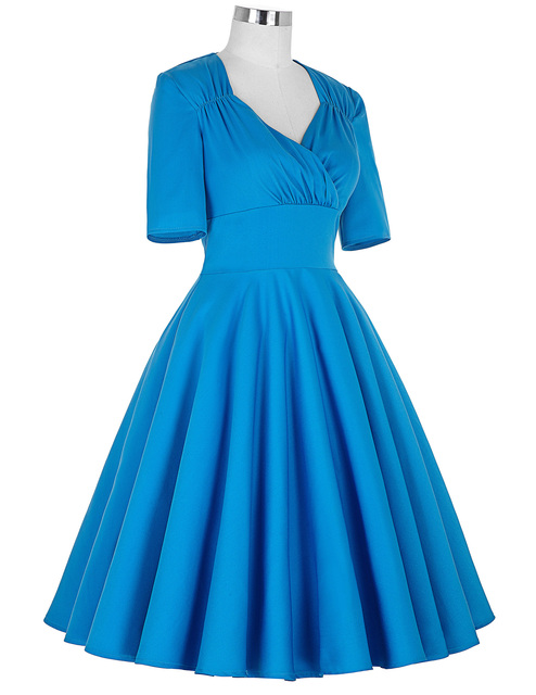 Vintage Style Swing dress elegant 1950s 60s kyliejenner victorian Retro Pinup Office work Evening wedding party Dress Blue 4