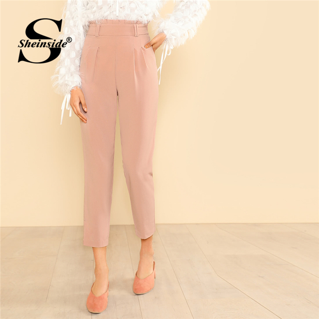 1c2774553b Sheinside Frilled High Rise Pleated Front Pants 2018 Summer Tapered Carrot  Crop Trousers Women Pink Zipper Fly Workwear Pants