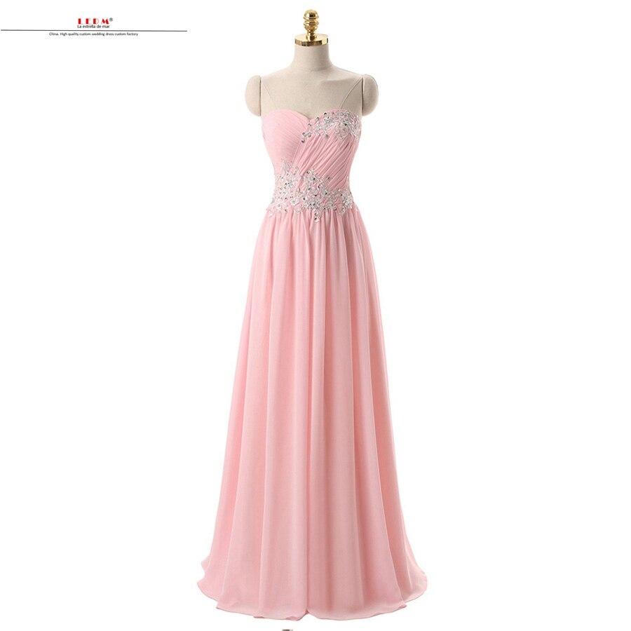 Vestido de festa longo hot chiffon sexy sweetheart A Line pink   bridesmaid     dress   long robe demoiselle d'honneur pour femme cheap