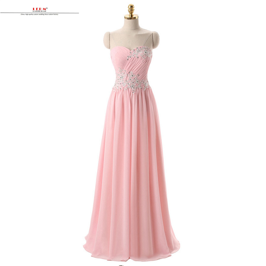Wedding party dress2019 new chiffon beaded Open back A Line pink   bridesmaid     dress   long vestido dama de honor boda