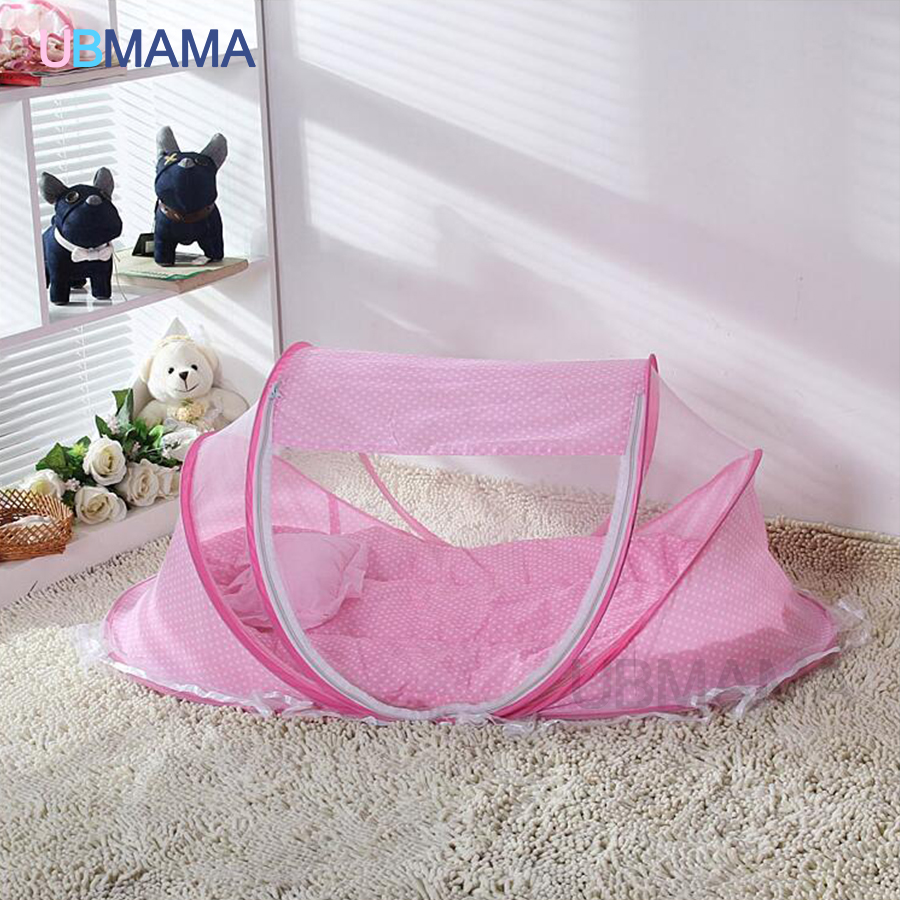 Red Blue Baby Bed With Mosquito Net Portable Baby Bed Music Game Cotton Folding Bed With Children Bed Cover