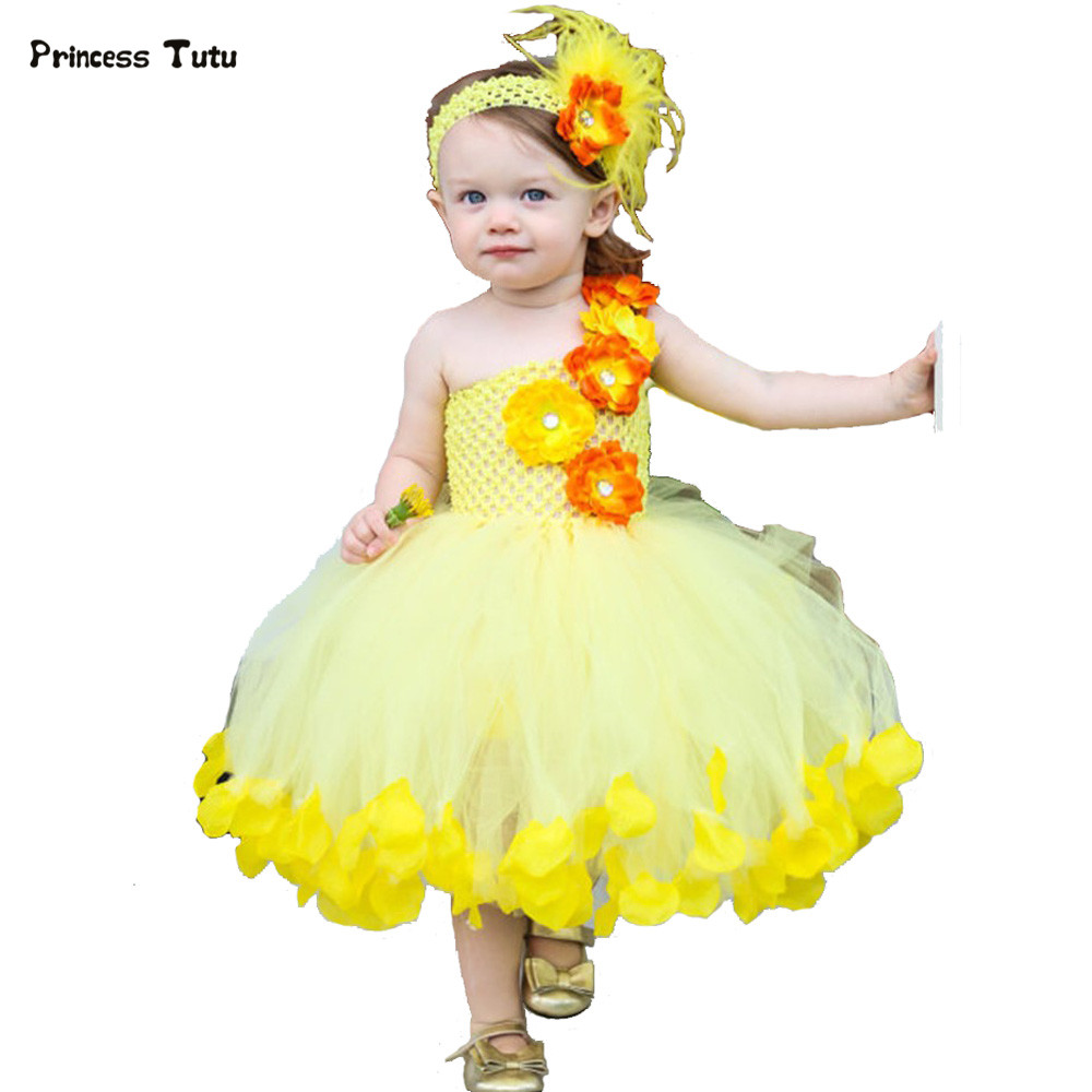 Cute Wedding Flower Girl Tutu Dress Kid Princess Tulle Dresses For Party Birthday Pageant Photograph Girl Flower Fairy Ball Gown girl navy blue princess dress kimono dress cute princess tutu dress