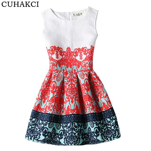 2d4aa79557cd CUHAKCI Print Dresses Women Summer Sleeveless Mini Dress Floral Casual Party  Vestidos Short Boho Plus Size