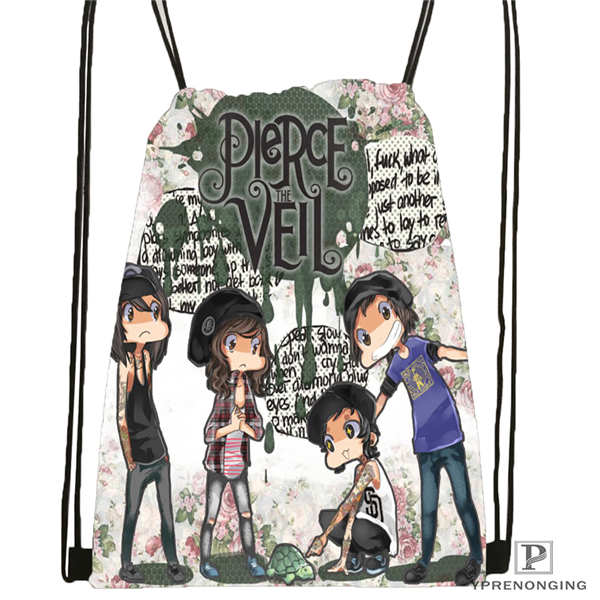 Custom Pierce-The-Veil@01- Drawstring Backpack Bag Cute Daypack Kids Satchel (Black Back) 31x40cm#180611-03-104