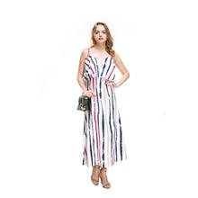 Boho Women Spaghetti Strap Long Dress Summer Lady Ruffle Tank Sleeveless Chiffon Sundress ethnic style chiffon embroidery spaghetti strap tank tops for women