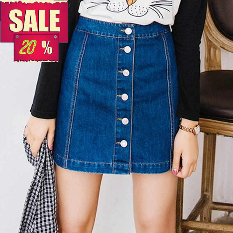 על מכירה 2019 קיץ סקסי נשים בציר אונליין עיפרון ג 'ינס חצאית קדמי כפתור גבוה מותן ינס חצאית נקבה גבירותיי falda נהיגה לראשונה חצאית