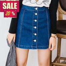 47897cf0ed En venta 2019 de verano Sexy Vintage para mujer vestido de lápiz falda de  Jeans botón Denim de cintura alta falda Mujer damas fa.