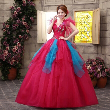 Ball Gown Quinceanera Dress V Neck Lace-up Back Appliqued Sequined Sleeveless floor length Prom Dress Gown robe de quinceanera