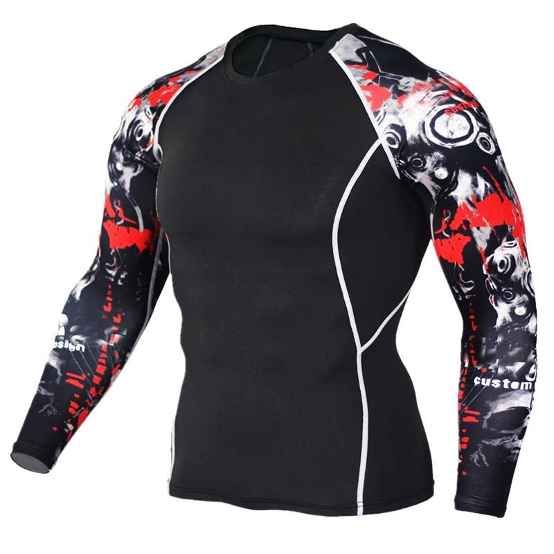 2017 Mens MMA Fitness T-shirt Dəb 3D Yeniyetmə Wolf Uzun Qollu - Kişi geyimi - Fotoqrafiya 5