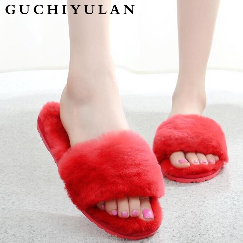 все цены на Hot Women Slippers Fashion Spring Summer Autumn Plush Slippers Women Faux Fur Slides Flip Flops Flat Shoes Plus Size 35-43