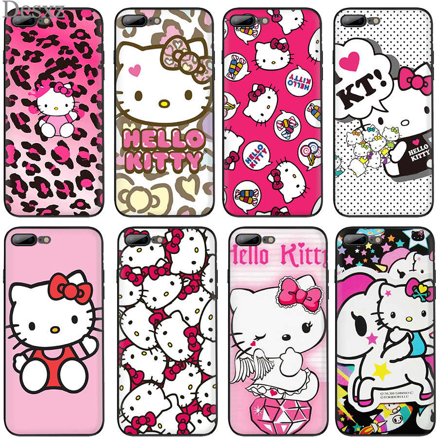 De silicona TPU caso para iPhone X XR XS Max 6s 6 7 8 Plus 5 5S SE caliente de moda Hello Kitty