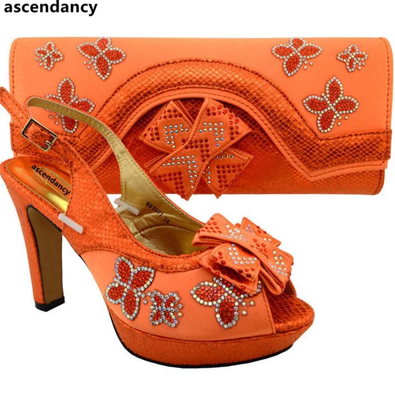 Mariage vert Royal Rose Dames rose Italiennes Couleur Décoré café Avec Sac Ensemble Or Chaussures fuchsia bleu orange Strass Parti De Et Nigérien argent ZZwOgxq