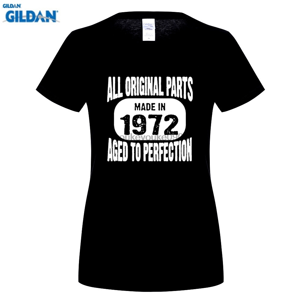 GILDAN T Shirt Design Shop Short Sleeve Fashion Crew Neck Made In 1972 All Original Parts Aged To Perfection T-Shirts