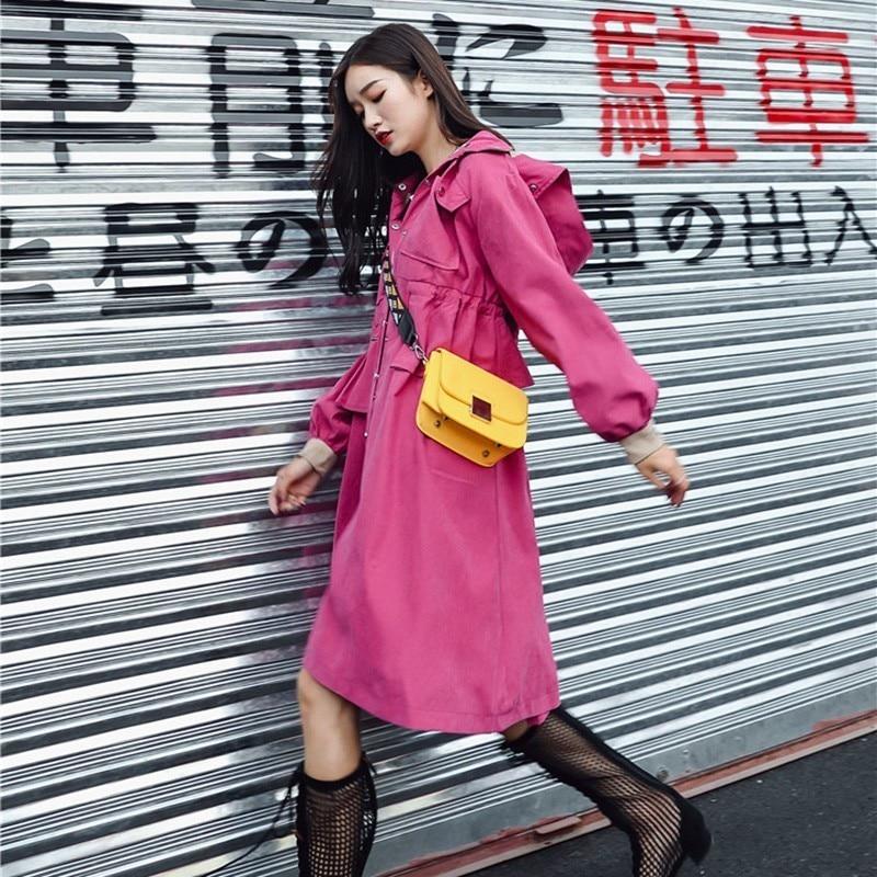 Lacets 2018 Coupe De Printemps Mode Femmes Tranchée Manteau Taille Coréenne vent Volants À Femelle Automne Capuche Haute Vestes Vêtements 4ggrU0qCw