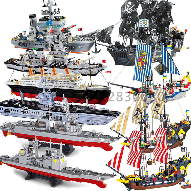 compatible for legoeing titanic cruise warship boat Caribbean Pirate Ship model Kits DIY building Blocks kids toy children brick