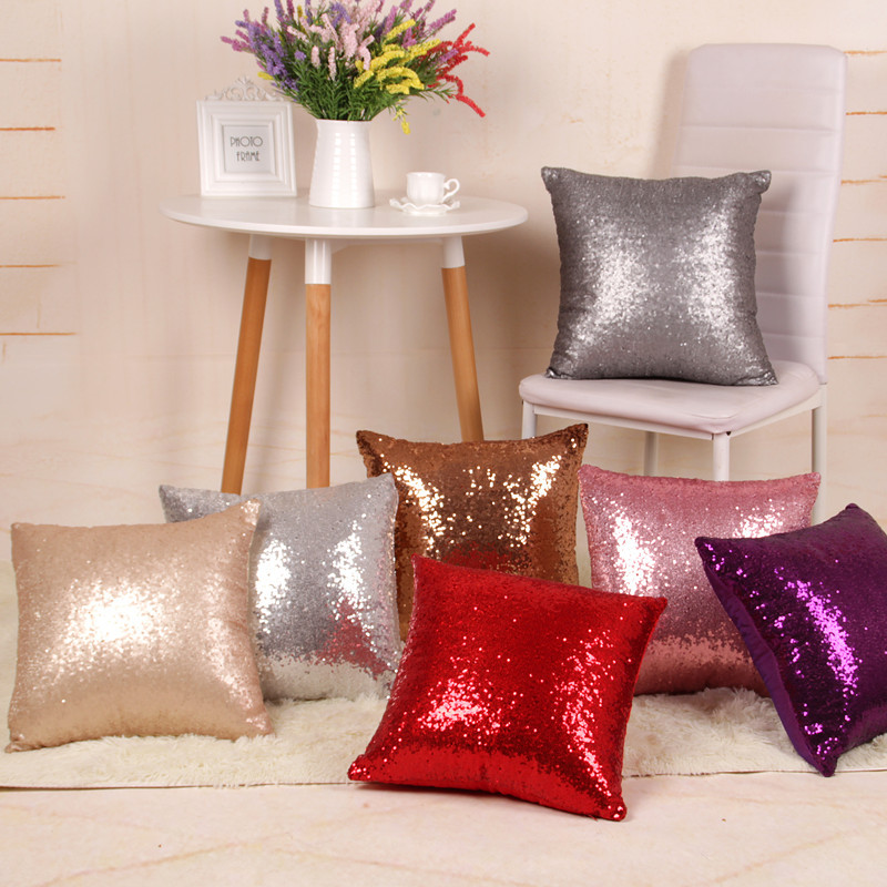 Pillowcase Solid Color Glitter Silver Sequins Bling Throw Pillow Case Cafe Home Decor Cushion Cover Decorative