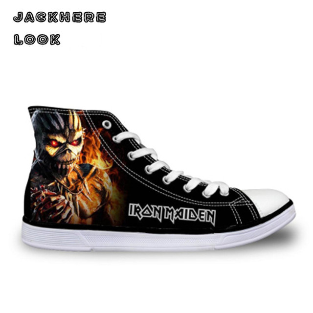 af16e2f1e63 JACKHERELOOK 2017 Fashion Mens High Top Canvas Shoes Male Casual Flats Iron  Maiden Man Lace-up Heavy Metal Skull Vulcanize Shoes