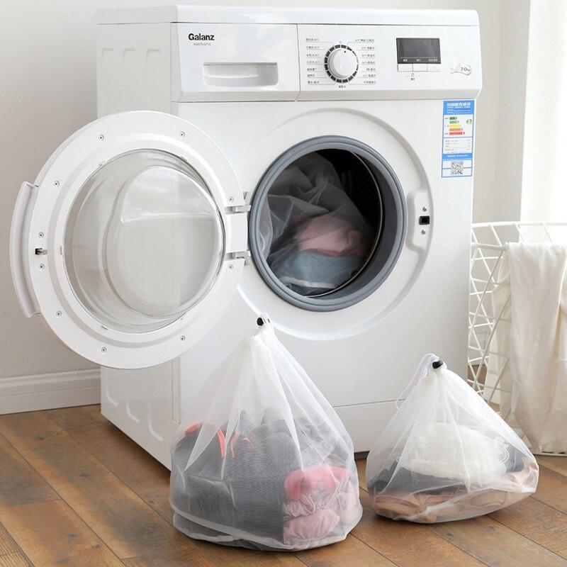 3pcs/set Drawstring Foldable Nylon Laundry Bag Bra Socks Underwear Clothes Washing Machine Protection Net Mesh Bags