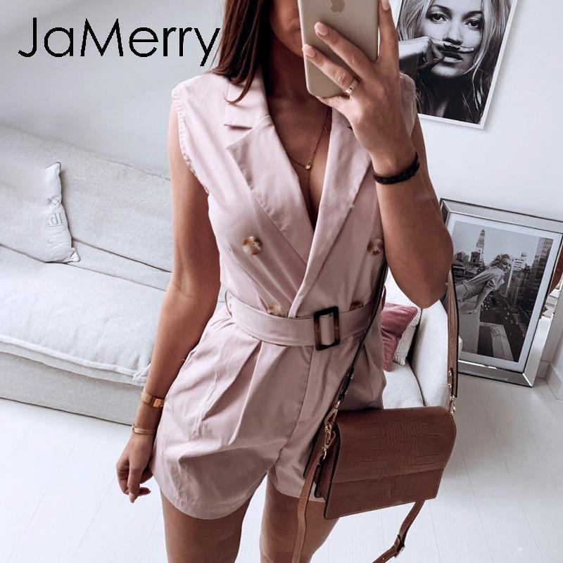 JaMerry Vintage Fashion Sashes Khaki Women Playsuit Spring Summer Pockets Button Romper Elegant Zipper Jumpsuit Office Ladies