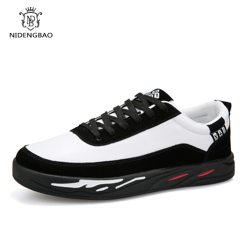 Men Casual Shoes New Spring Comfortable Lace up Sneakers Shoes Men Flat Loafers Zapatos Hombre Black White Flat Male Footwear 5