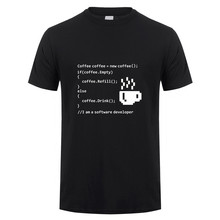 New Summer Coffee Empty T Shirt Men Casual Cotton Short Sleeve Cool Printed software developer T-shirt Coffee Mans Tshirt TM-005