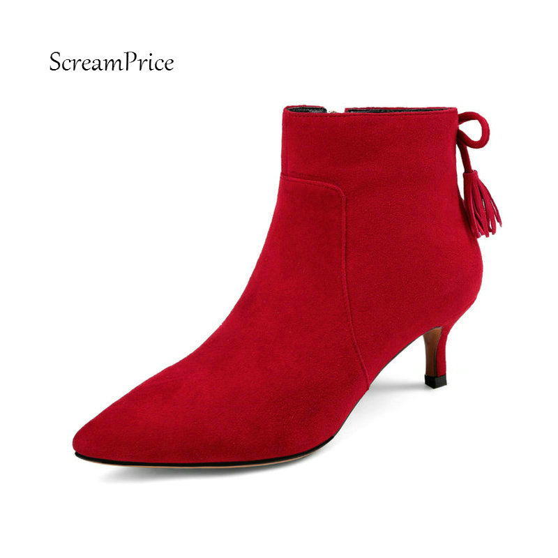 Comfort Thin Heel Pointed Woman Suede Ankle Boots Fashion Fringe Zipper Dress Shoes Woman Black Red suede geo embroidered fringe trim vest