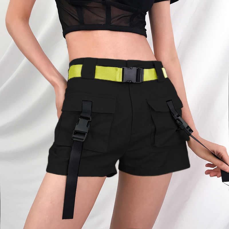 Mùa Xuân năm 2019 Mùa Hè Quần Short Lưng Cao Có Khóa Nơ Kaki Phong Cách Đường Phố Cotton Ngắn Feminino Quần Shorts