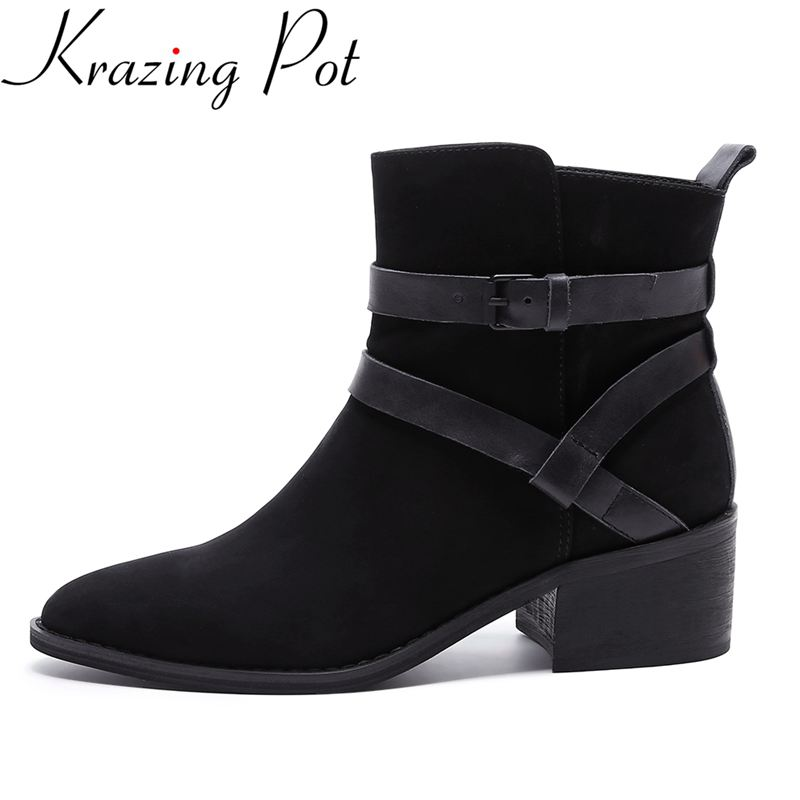 Krazing Pot genuine leather fashion winter boots round toe thick heel motorcycle boots runway superstar women ankle boots L33 krazing pot big szie cow suede slip on thick heel tassel bowtie winter pointed toe fashion superstar runway ankle boots l5f1