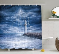 High Quality Arts Shower Curtains Sea Lighthouse Lightning Black Clouds Bathroom Decorative Modern Waterproof Shower Curtains
